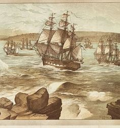 The First Fleet entering Port Jackson, Sydney, Australia on the of January, Drawn 1888 ~ v Antique Photos, Vintage Photographs, Old Photos, Sydney Australia, Australia Travel, Pax Britannica, First Fleet, Aboriginal History, Australian Painting