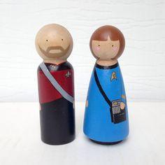 Custom Star Trek Peg Dolls Wedding Cake Topper by PegHeads on Etsy