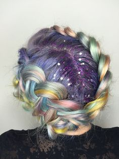 Rainbow Braid + Glitter Roots (note: same poster as Earthy Unicorn Hair) Glitter Roots, Glitter Bomb, Glitter Slides, Fantasy Hair, Fantasy Makeup, Coloured Hair, Unicorn Hair, Rainbow Hair, Rainbow Braids