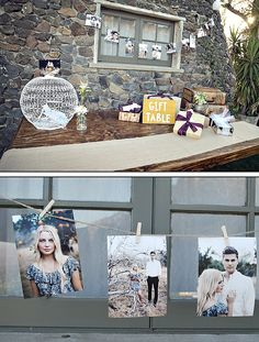 love their engagement photographs on a line over their wedding guest table