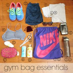 (back to school) gym bag essentials  juliamage.tumblr.com