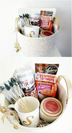 30 Easy And Affordable DIY Gift Baskets For Every Occasion - I love making my own gifts dont you? I mean I love everything about it even creating my own gift baskets. Ive been making gift baskets for a while and they are normally a huge hit. Coffee Gift Baskets, Diy Gift Baskets, Christmas Gift Baskets, Coffee Lover Gifts, Christmas Diy, Basket Gift, Coffee Lovers, Kitchen Gift Baskets, Coffee Shop