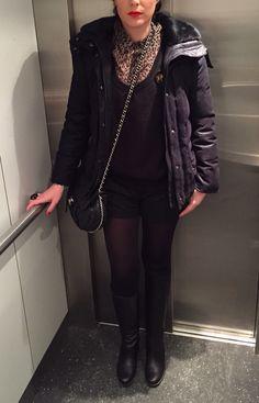 OOTD: Maje short- Mango shirt- Iro Pull- Zara coat- Chanel bag- Louboutin boots