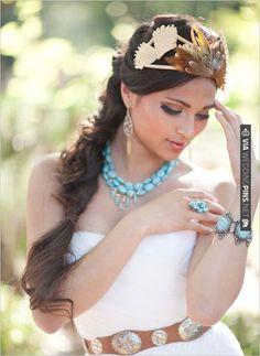 2a193e10e8b57e loose braid and turquoise wedding jewelry (pocahontas!