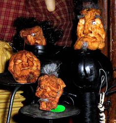 Shrunken Apple Heads ~ My mom use to have use make these every year.