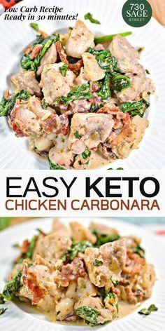 (Keto) Chicken Carbonara Rezept in 30 Minuten . (Keto) Chicken Carbonara Rezept in 30 Minuten # carbonara recipes Ketogenic Recipes, Low Carb Recipes, Diet Recipes, Cooking Recipes, Paleo Keto Recipes, Low Carb Chicken Recipes, Healthy Quick Recipes, Healthy Hamburger Recipes, Low Carb