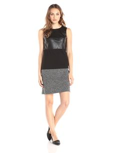 Calvin Klein Women's Sleeveless Mixed Media Shift Dress -- This is an Amazon Affiliate link. Continue to the product at the image link.