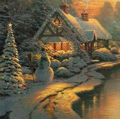 Thomas Kinkade Christmas scene~I wanna live here! Thomas Kinkade Art, Thomas Kinkade Christmas, Christmas Scenes, Christmas Pictures, Christmas Eve, Xmas Holidays, Winter Holiday, Kinkade Paintings, Oil Paintings