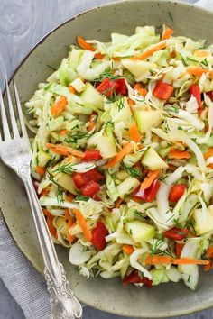 This healthy cabbage salad is budget-friendly, delicious, and chock-full of healthy nutrients. It's made with the most healthy ingredients such as raw cabbage. Best Cabbage Recipe, Cabbage Salad Recipes, Slaw Recipes, Healthy Salad Recipes, Raw Food Recipes, Veggie Recipes, Vegetarian Recipes, Cooking Recipes, Salad With Cabbage