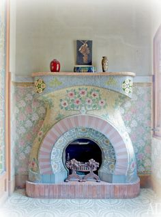 I loveeee this.Mosaic fireplace by Luis Bru in Casa Navas - Catalonia Fireplace Update, Mosaic, Mosaic Flower Pots, Shabby Chic Fireplace, Shabby Chic Cottage, Mosaic Fireplace, Fireplace, Coastal Decor, Shabby