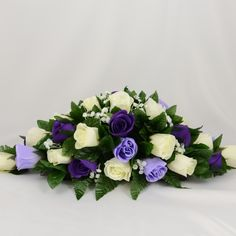 Purple, Lilac & Ivory Rose Wedding Table Decoration Arrangement