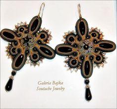"Galeria Bajka Soutache Jewelry: Kolczyki (earrings) ""Kir Royale"""