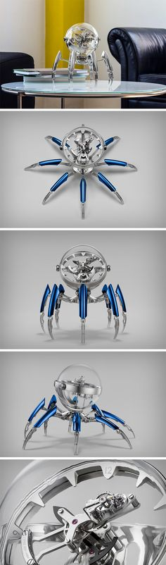 Octopod is one of MB&F's most dazzling (and borderline scary) timepieces. Exploring the aquatic theme (an MB&F favorite), the Octopod is mesmeric (and borderline scary, I repeat) with its transparent orb head and eight movable legs. The timepiece almost floats inside the transparent orb, and was engineered to perfection by L'Epée 1839, who have been in the watchmaking business for over 175 years.