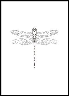 Poster mit Libelle im Grafikstil mit geometrischen Formen.