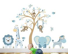 Yellow and Grey Jungle Wall Stickers, Gender Neutral Nursery Decals, swinging monkeys, giraffe, baby elephant a white tree mural decor