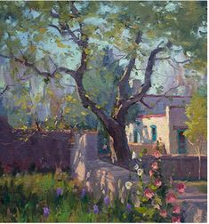 I painted this tree in the spring and kept the values darker than the ground which helps the tree look more substantial.
