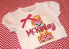 First Birthday tee shirt or bodysuit Monogrammed Chevron - Personalized free - embroidered 1st birthday creeper rainbow number with name bow on Etsy, $19.99