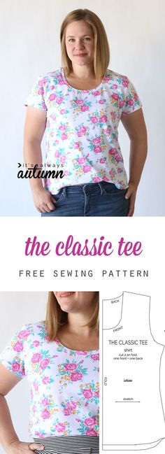 Learn to make a classic tee with this easy womens sewing tutorial and free…