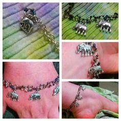 Elephant charm link bracelet