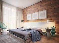 chambre à coucher élégante et moderne avec une niche lumineuse et deux suspensions de design curieux