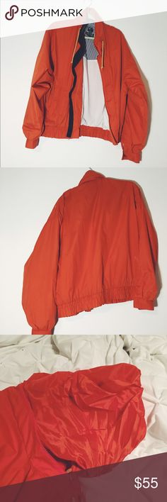 Vintage orange windbreaker #Orange #Vintage #Windbreaker from DASH Life Adventures It was made in Mariana Islands USA It has a cool hoodie that zips in and is waterproof. It has two pockets in each side and a inner pocket Very cute and comfortable. It is a size large but can fit XS to L depending on the look you want. I only have one jacked has been listed this way so you can see the size range DASH Jackets & Coats