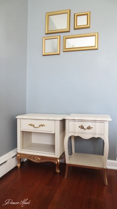 gold dipped legs on side tables, home decor, how to, painted furniture Refurbished Furniture, Repurposed Furniture, Furniture Makeover, Painted Furniture, Diy Furniture, Furniture Design, Redoing Furniture, Plywood Furniture, Chair Design