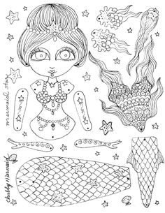 Instant Download Paper Doll Mermaid by ChubbyMermaid on Etsy