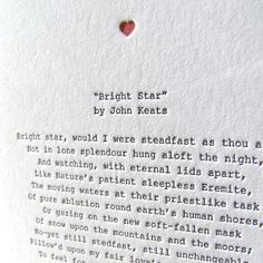 Keats letterpress note card (one of my favourite poems of all time!)