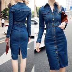 Casual Slim Single Breasted Denim Dress Spring Women Knee-length Jeans Dress Long-sleeve Turndown Collar Jean&denim Dress(dress has no holes for the buttons,but have holes Lines,so you can Cut it by yourself ) Long Denim Skirt Outfit, Jean Dress Outfits, Denim Outfit, Jeans Dress, Casual Jeans, Denim Jeans, Casual Outfits, Blue Jean Dress, Mode Jeans