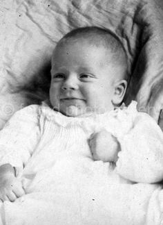 Vintage Photo Cute Baby Black & White Photo by foundphotogallery