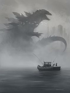 Cool Godzilla art. Sadly I don't know who the artist is. #Gojira