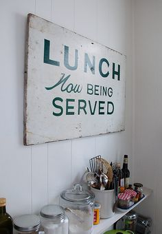 My Most Meaningful Decision (Design*Sponge) - - Warm Kitchen, Rustic Kitchen, Kitchen Dining, Kitchen Art, Diy Signs, Wall Signs, Vintage Kitchen Signs, Kitchen Words, Salvaged Wood