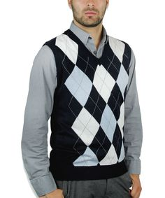 Navy & White Argyle Sweater Vest