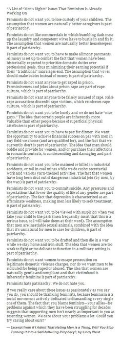 """""""A List of """"Men's Rights"""" Issues That Feminism Is Already Working On"""