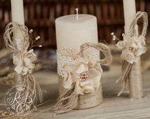 Velas de unidad rústico Chic rústico de boda / con la cuerda, cordón, flores hechas a mano de la perla