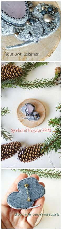 New year symbol, mouse brooch with natural stone, gift idea, mouse gift, sleeping mouse, modest mouse.