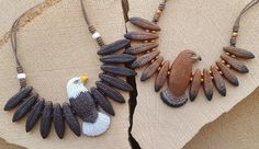 Totem Eagle Necklace (made to order) Terracotta Jewellery, Ceramic Jewelry, Wooden Jewelry, Handmade Jewelry, Wood Carving Patterns, Carving Designs, Polymer Clay Crafts, Polymer Clay Jewelry, Antler Crafts