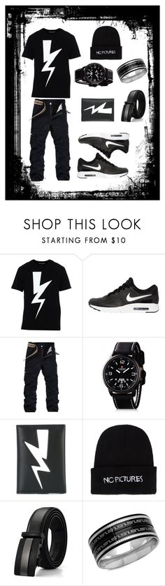 """Dark gothic style"" by sorryimpsycho ❤ liked on Polyvore featuring Neil Barrett, NIKE, Nasaseasons, SteelTime, men's fashion and menswear"