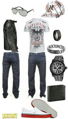 Men's casual affliction hurley outfit. Jeans leather jacket