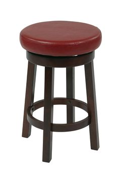 """OSP Designs 24"""" Metro Round Barstool in Red Faux Leather"""