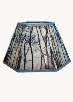 Hexagonal fabric lampshade handmade 5.5x10x7 H. by Gingerartlamps