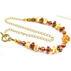 25% OFF SALE Lampwork Glass Necklace, Red Brown Amber, Copper Pearls,... ($71) ❤ liked on Polyvore featuring jewelry, necklaces, boho necklace, gold plated necklace, red necklace, bohemian jewelry and boho jewelry