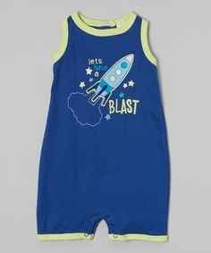 Loving this Peanut Buttons Blue 'Let's Have a Blast' Spaceship Romper - Infant on #zulily! #zulilyfinds