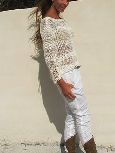 white sweater / White cotton mix loose knit / summer by ileaiye Loose Knit Sweaters, Summer Sweaters, Sweater Coats, Cotton Sweater, White Sweaters, Grey Sweater Womens, Beige Vests, Double Knitting, Pulls