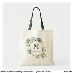 Personalized Greenery Succulents Monogram Tote Bag Floral Tote Bags, Monogram Tote Bags, Bridesmaid Tote Bags, Bridesmaids, Wedding Address Labels, Monogram Wreath, Budget Fashion, Succulents, Reusable Tote Bags