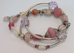 Blushing Lilac Trio Bracelet 15-75 by RockBottomBeads on Etsy