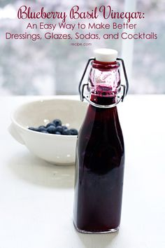 Blueberries are a super fruit in blueberry basil vinegar. Use it to make sodas, glazes, dressings or cocktails!
