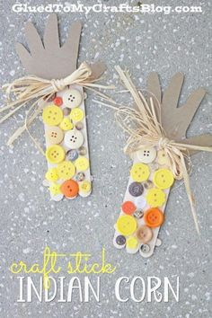 Using just a few inexpensive craft supplies, you too can pull this Popsicle Stick Button Indian Corn Kid Craft together in no time for fall! Thanksgiving Crafts For Toddlers, Easy Fall Crafts, Halloween Crafts For Kids, Crafts For Kids To Make, Crafts For Teens, Projects For Kids, Thanksgiving Diy, Kids Crafts, Daycare Crafts