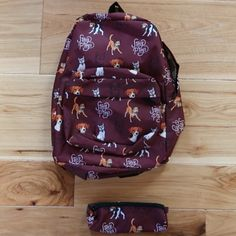 Backpack + Pencil Case (Maroon) - StacyPlays Shop