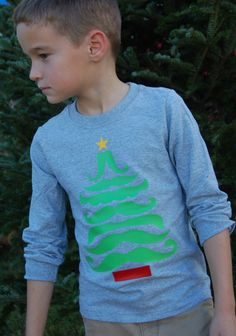 Mustache Christmas Tree Shirt - Toddler and Youth: by Kenzie Colleen. $22.00, via Etsy.